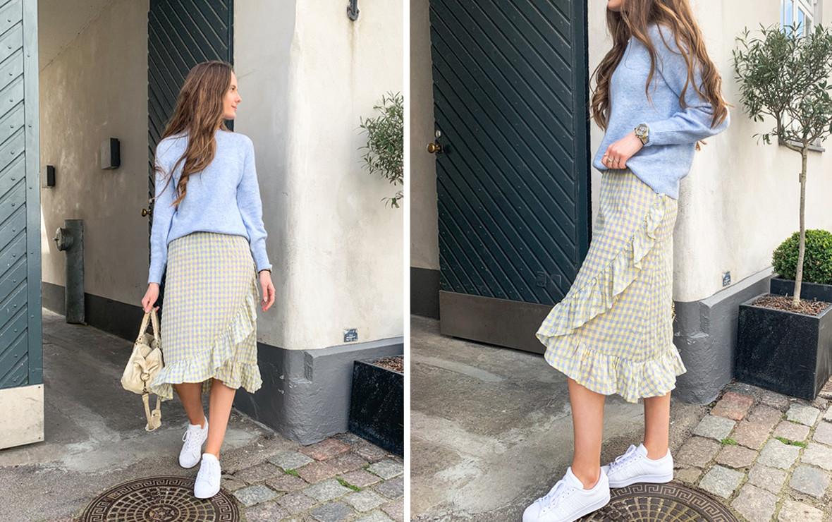 Nederdel med flæser - Trendy ternet nederdel fra VILA