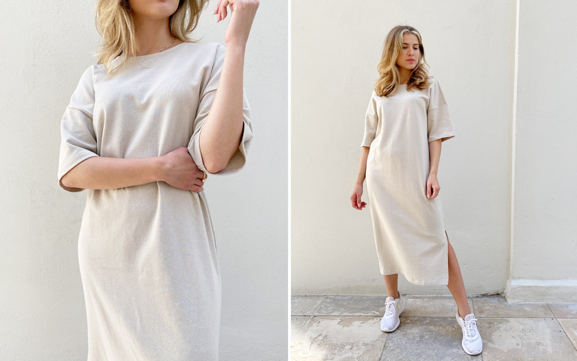 beige kjole med slids.jpg