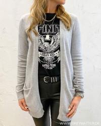 Viril Open Light Grey Melange Knit Cardigan