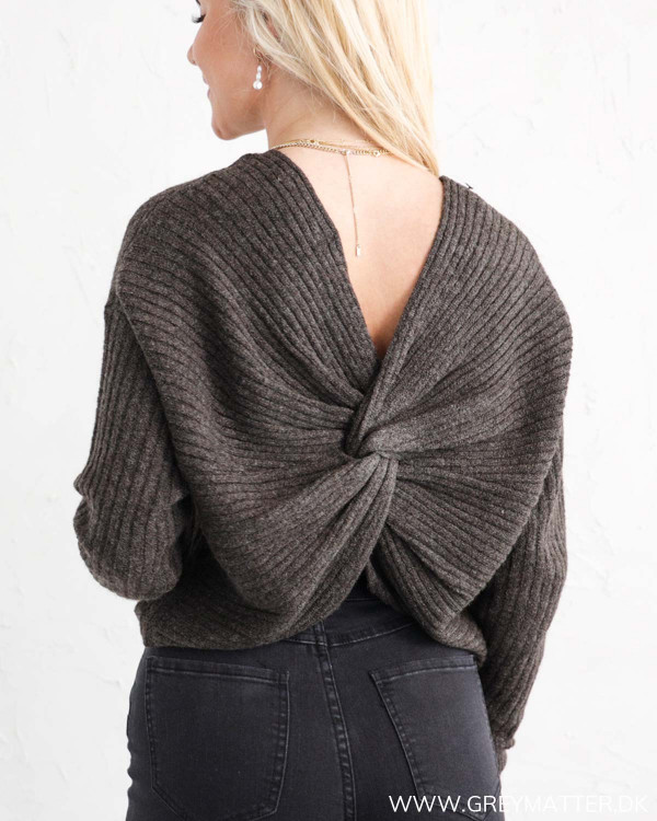 Pieces Pcsuna Drape Back Mole Knit