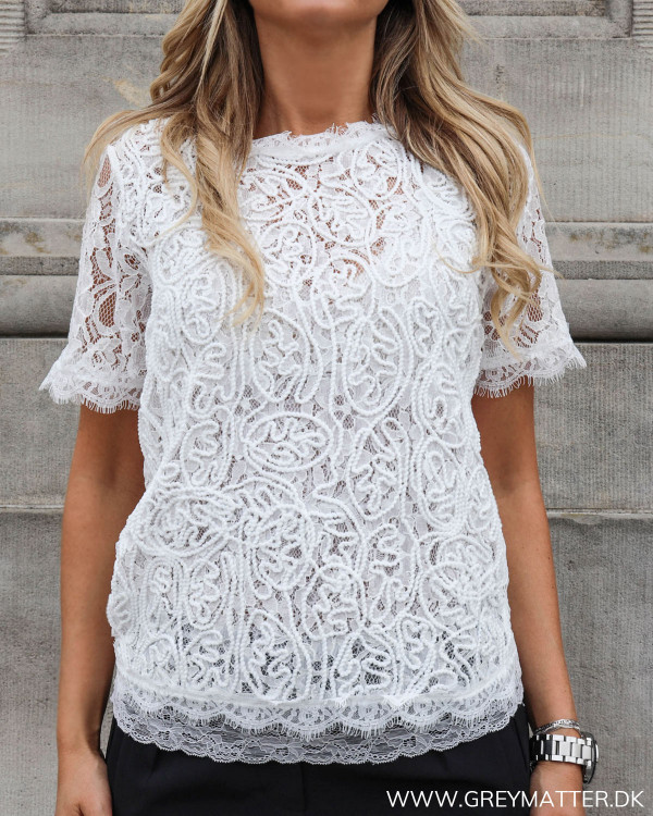 White Lace Zip Blouse