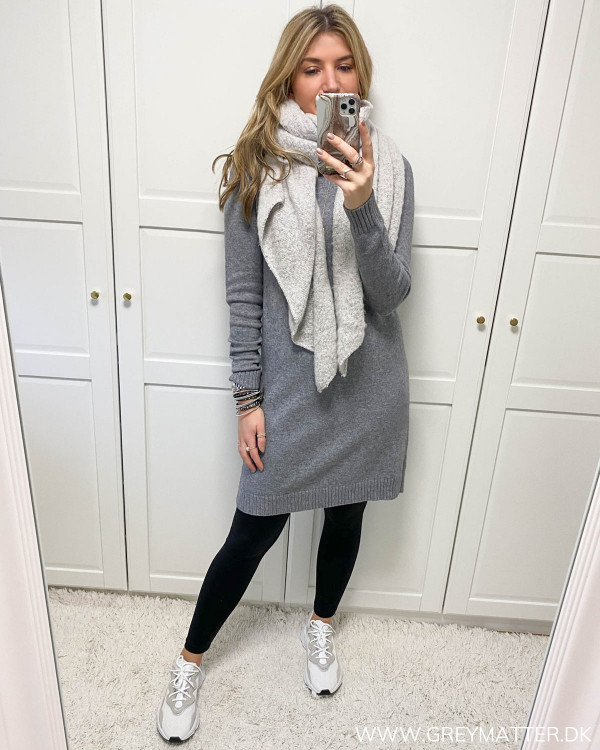Viril Medium Grey Melange Knit Dress