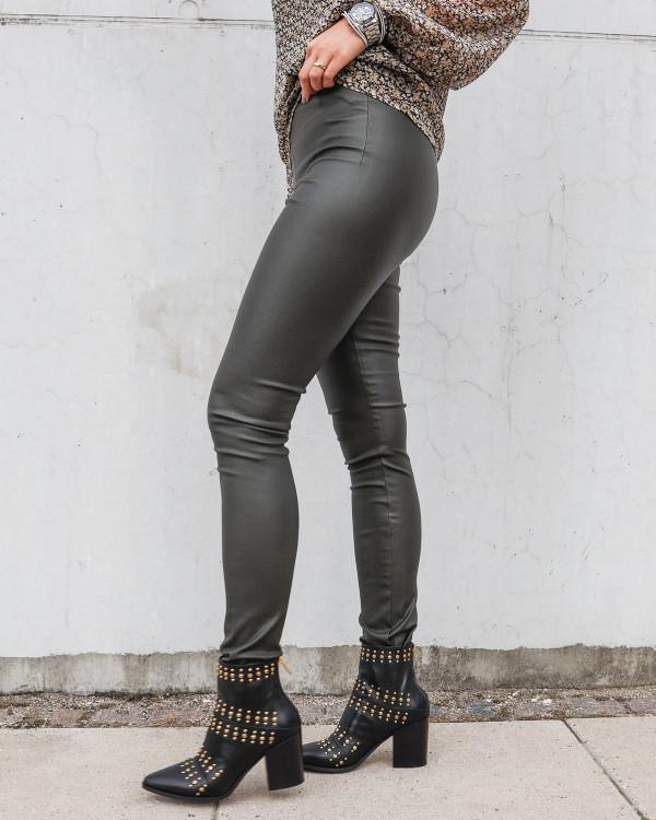 Rå leggings fra Vila med lynlås bagpå