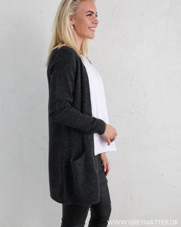 Vihanna Open Dark Grey Melange Knit Cardigan