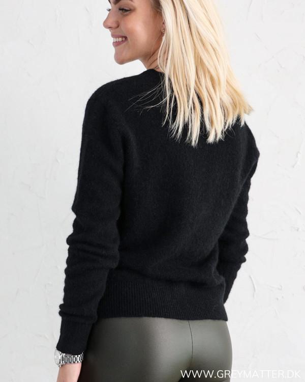 Neo Noir sort strik bluse