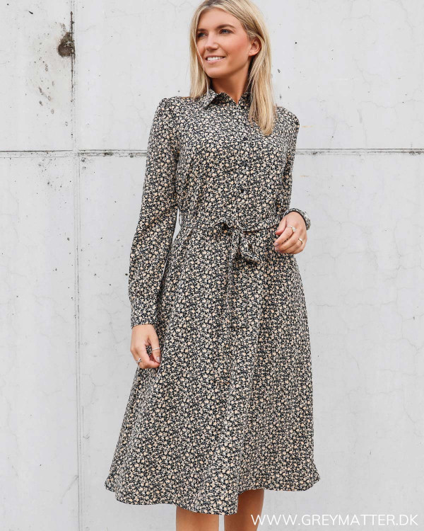 Pieces kjole med print i sort
