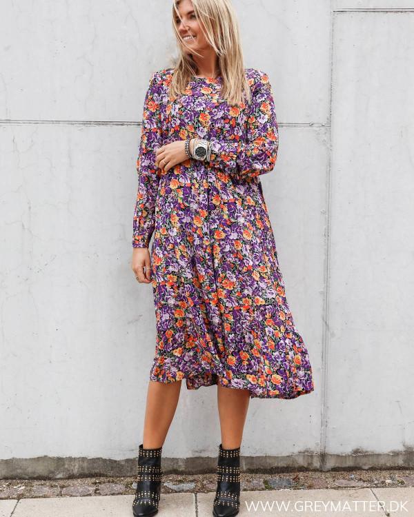 Pieces kjole med lange ærmer og smukt print