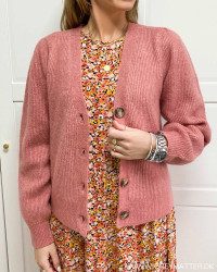 Gimma Rose Melange Knit Cardigan