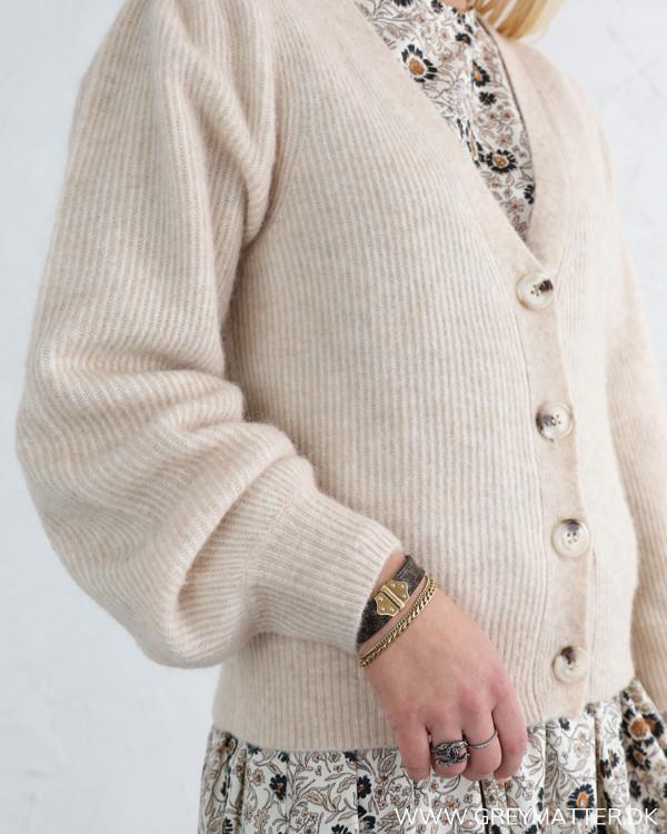 Neo Noir Gimma Sand Melange Knit Cardigan