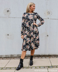 Pcmaggi Big Flower Black Dress