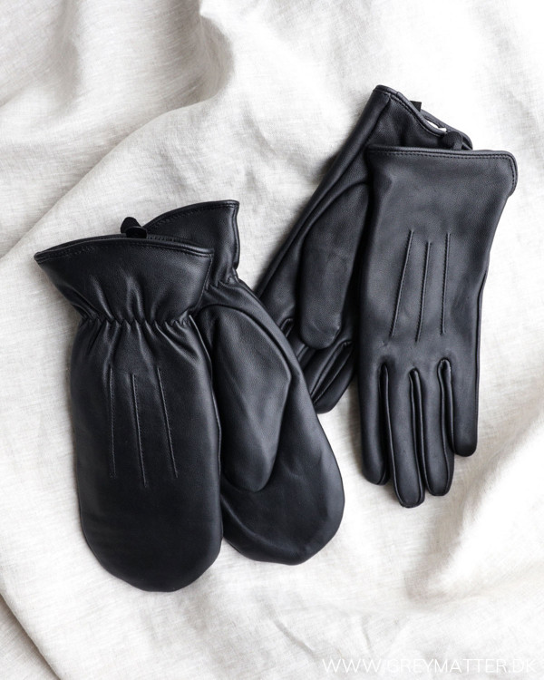 Pieces Pcnellie Black Leather Mittens