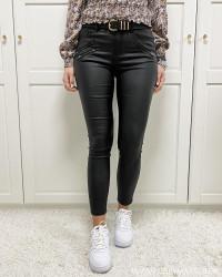 Vicommit Black Coated Zip Pants