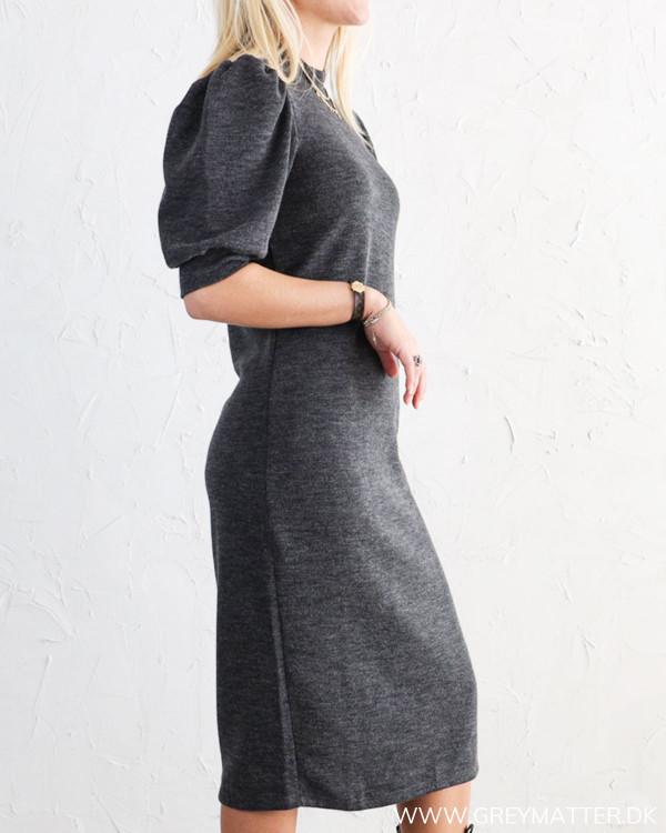 Vila Vimany Dark Grey Melange Sleeve Medi Dress