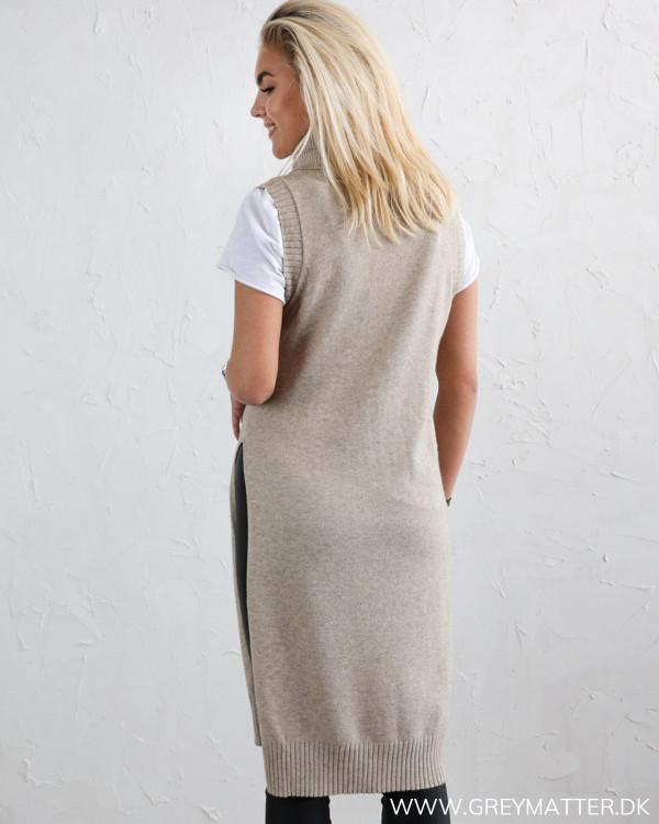 Vila Viril Long Natural Melange Knit Vest
