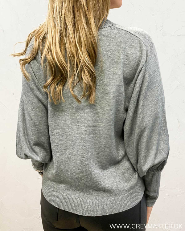 Violivinja Medium Grey Melange Shoulder Knit Blouse