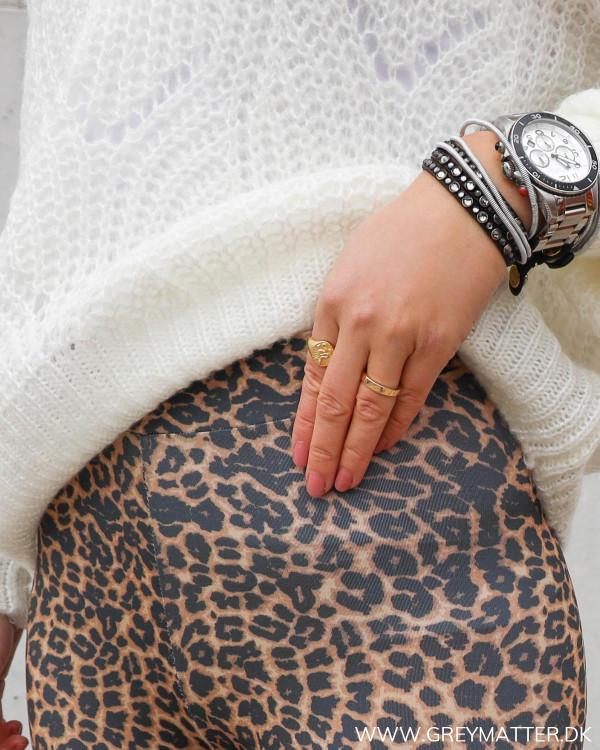Leopard leggings med stretch