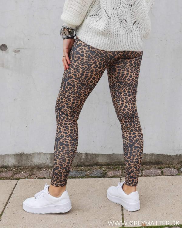 Only leopard leggings med stretch