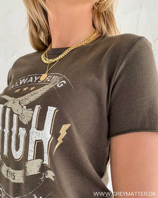 T-shirt fra Only med rund halsudskæring