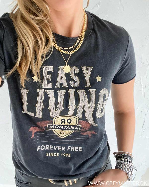 T-shirt i bomuld med print til damer