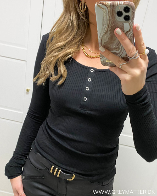 Pckitte Black Blouse ribbluse til damer