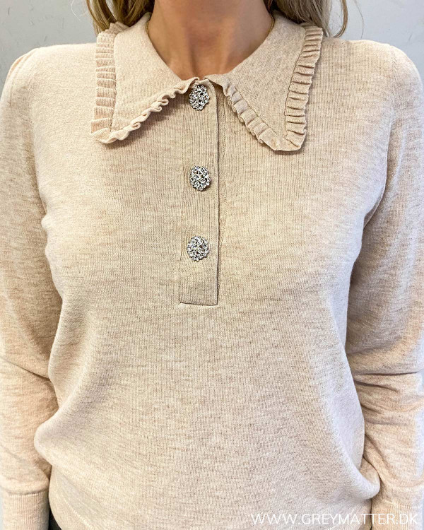 Neo Noir Gemma Diamond Sand Knit Blouse