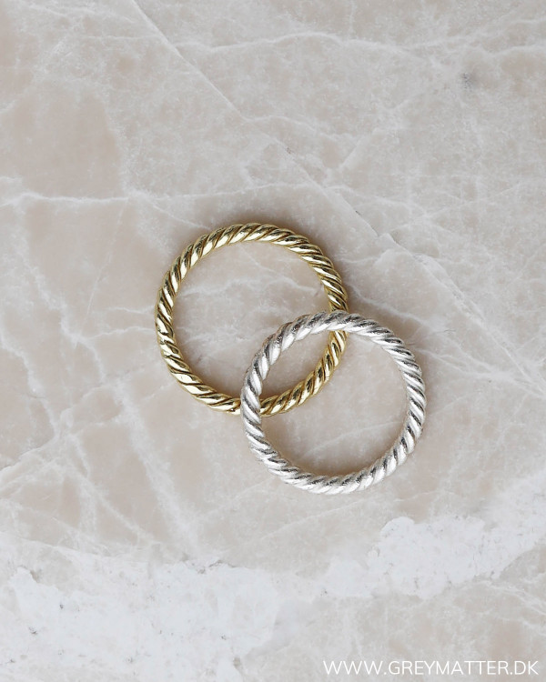 Silver Twisted ring her set med guld