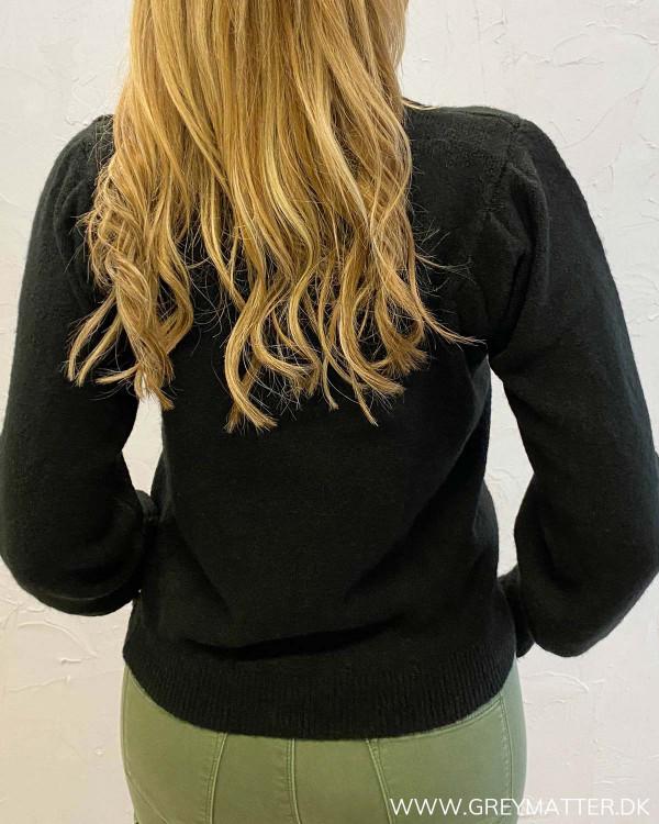 Pieces sort lækker strik trøje