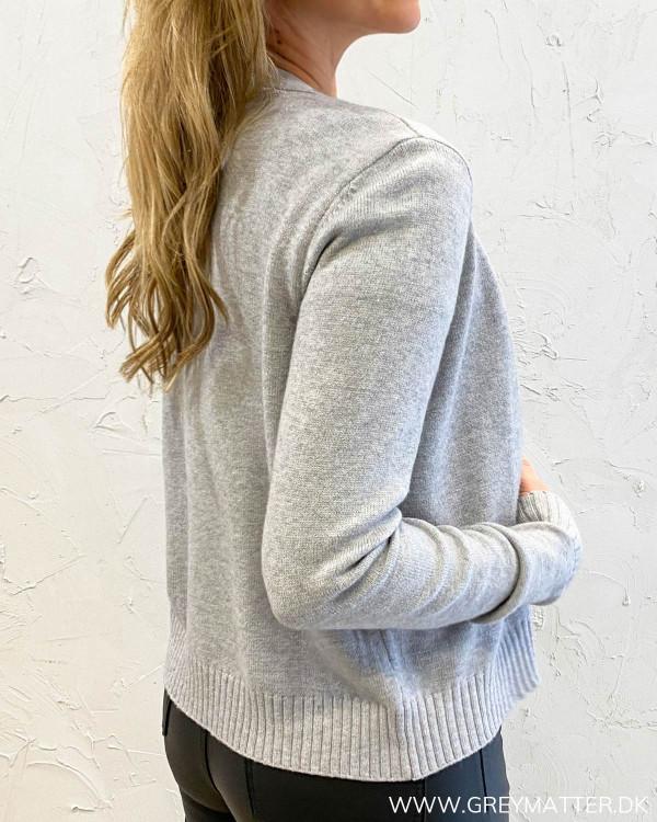 Viril Short Light Grey Melange Knit Cardigan