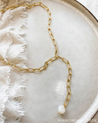 White Pearl Golden Necklace
