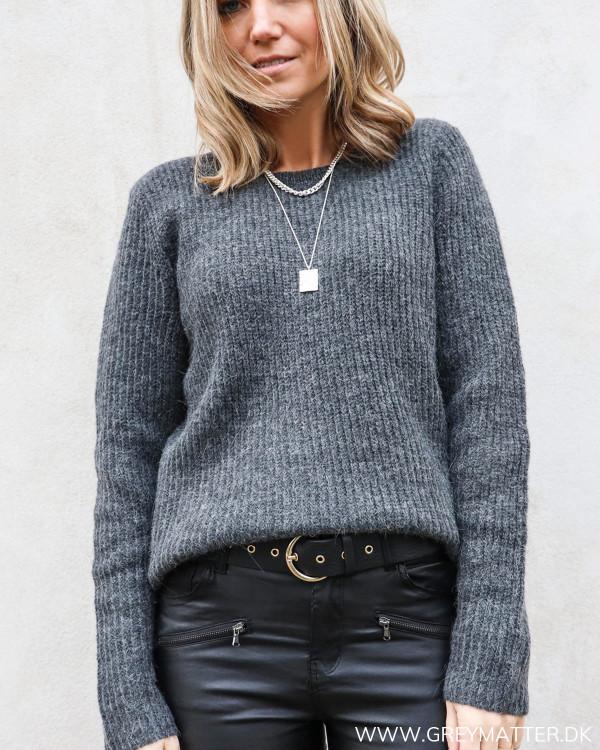 Vila Vigood Dark Grey Melange O-Neck Knit