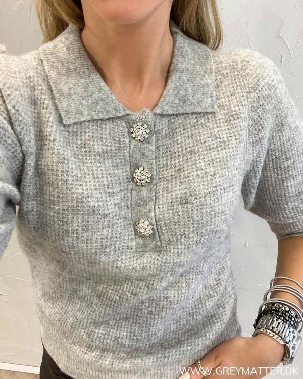 Meta Light Grey Melange Knit Blouse
