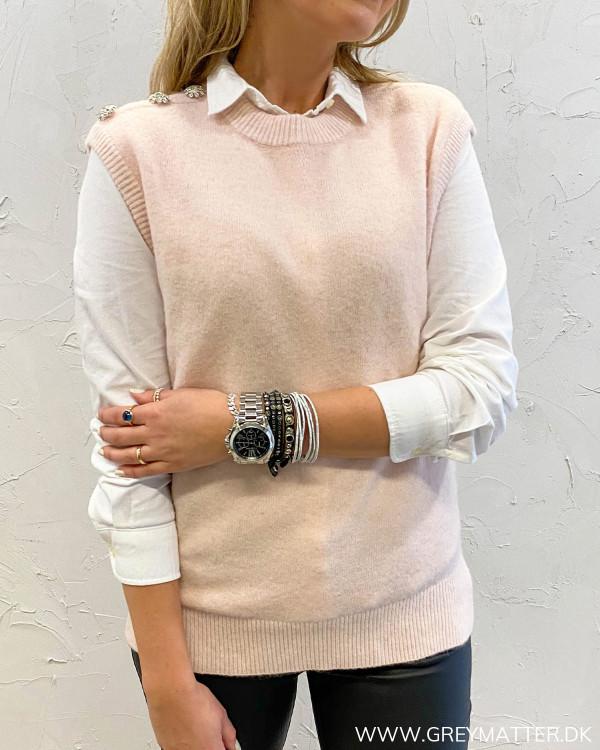 Nessa Diamond Light Pink Knit Waistcoat