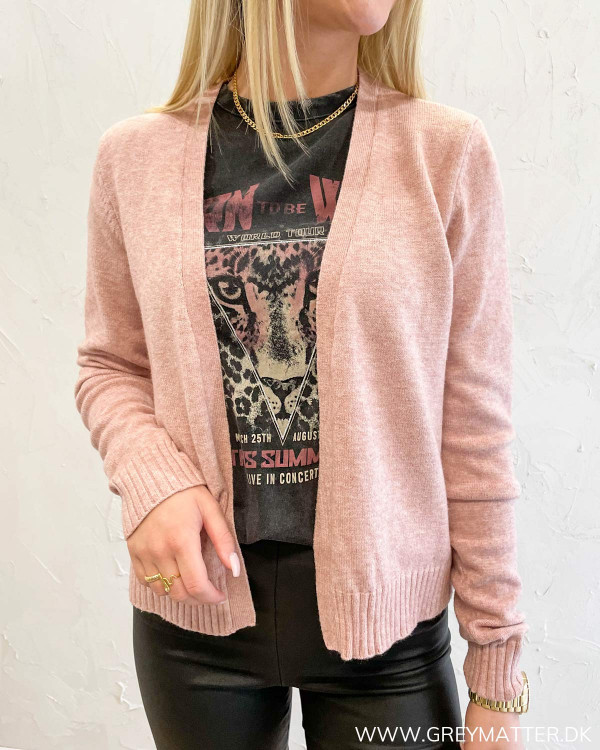 Viril Short Pale Mauve Knit Cardigan