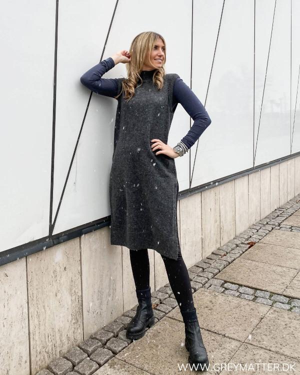 Onlmadeline Dark Grey Melange Vest Knit stylet med pckitte