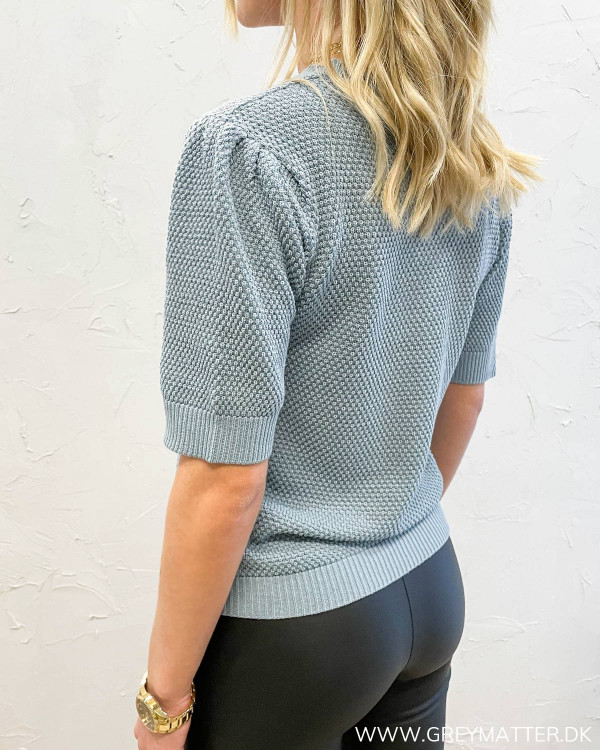 Vichassa Short Sleeve Ashley Blue Knit Blouse