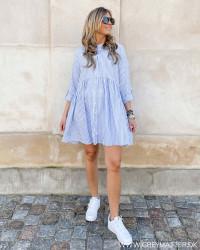 Onlditte Life Cloud Dancer Blue Stripe Dress