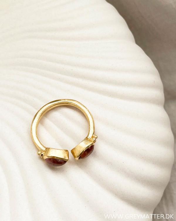 Golden Pink Dual Stone Ring