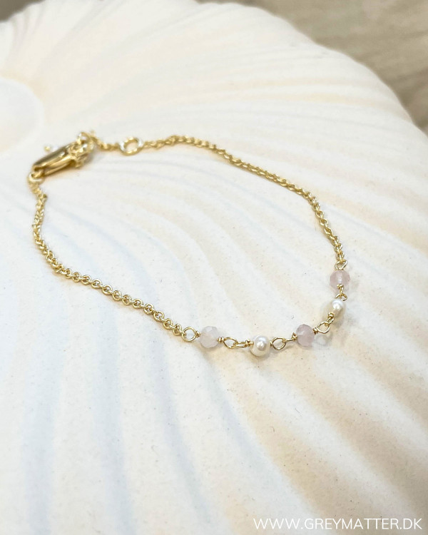 Golden Rose Quartz Pearl Bracelet