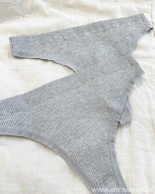 Pcsymmi 2-Pack Light Grey Melange Rib Thong