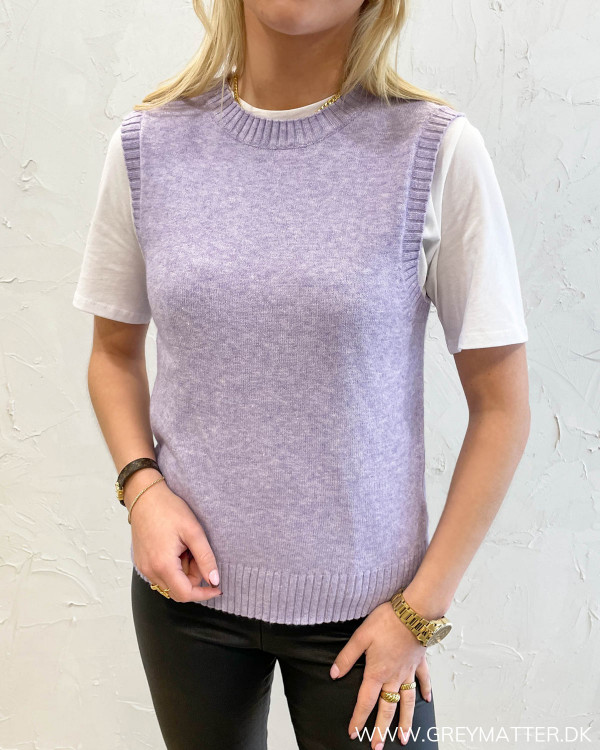 Viril Lavender O-Neck Knit Vest