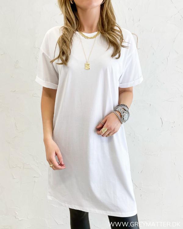 Lang t-shirt kjole i hvid Pieces