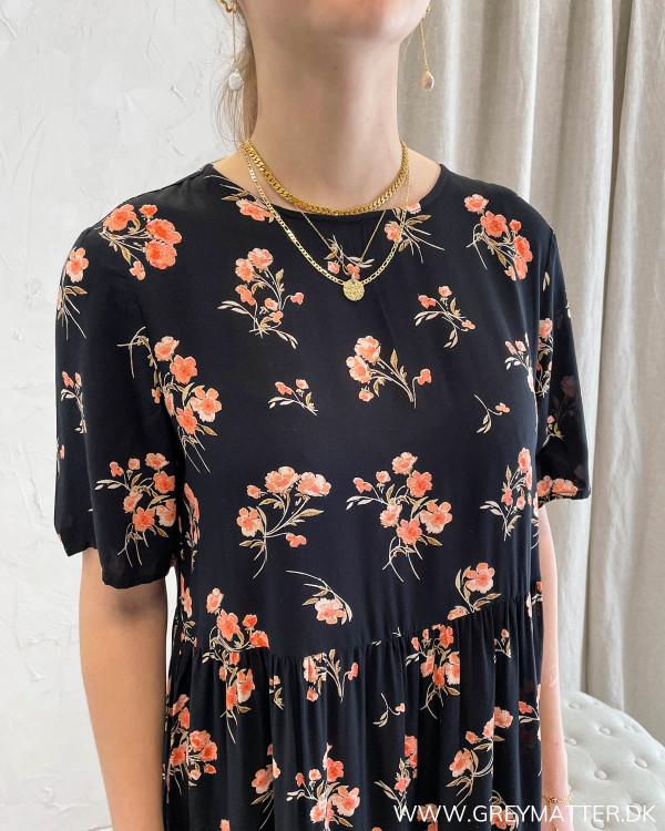 Pieces kjole sort med print