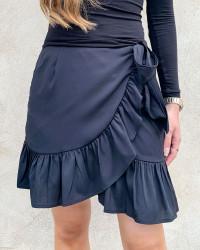 Onlolivia Black Wrap Skirt