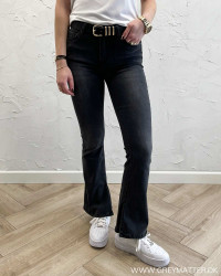 Washed Black Flared Jeans