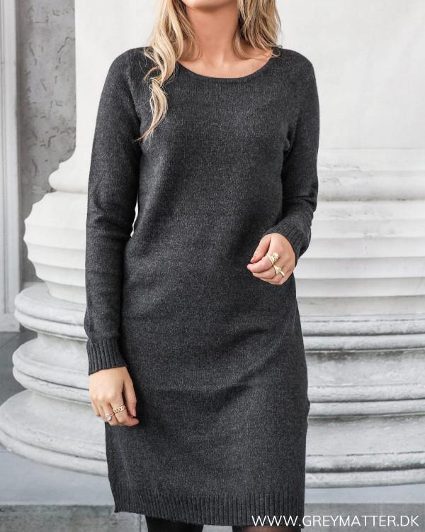 Vila Viril Dark Grey Melange Knit Dress