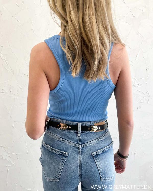Blå tank top til damer med rib