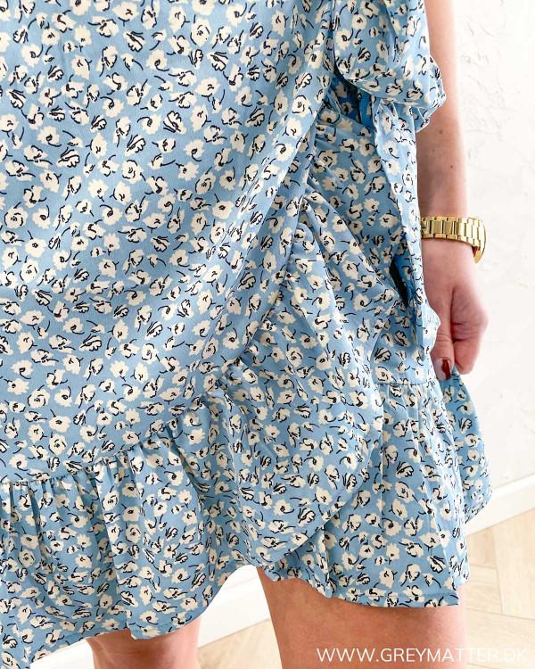 Nederdel med flæser i blå print
