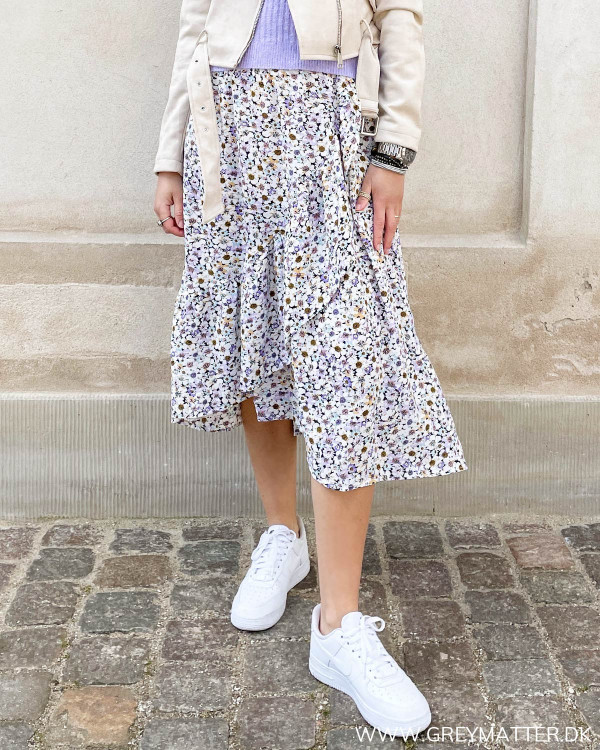 Nederdel med blomster print