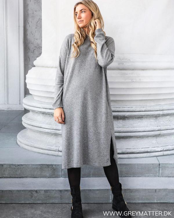 Grey Melange Knit Dress
