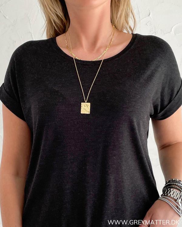 Mørkegrå basis t-shirt til damer i blød kvalitet